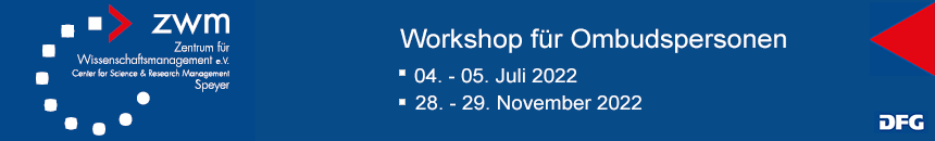 Ankündigungsbanner: Workshop für Ombudspersonen 2019