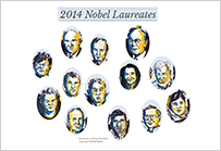 Illustration alle Nobelpreisträger 2014