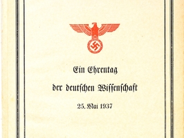 The cover page of the Festschrift (commemorative publication) on the establishment of the Reichsforschungsrat