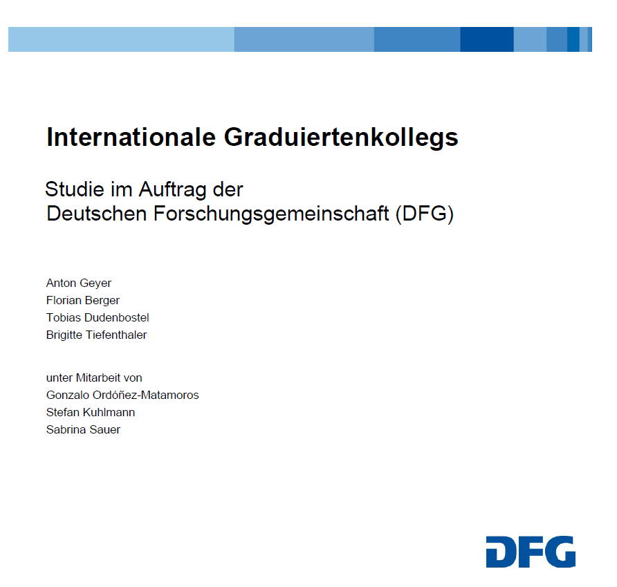 Cover Studie: Evaluation der Internationalen Graduiertenkollegs