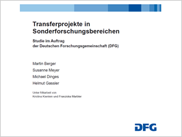 Cover Studie: Evaluation der Transferprojekte in Sonderforschungsbereichen