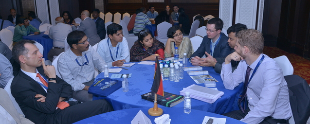 """Table Germany"" together with colleagues from other German organizations, Dr. Vaibhav Agarwal, DFG India Office (2nd from right), during discussion with the participants."