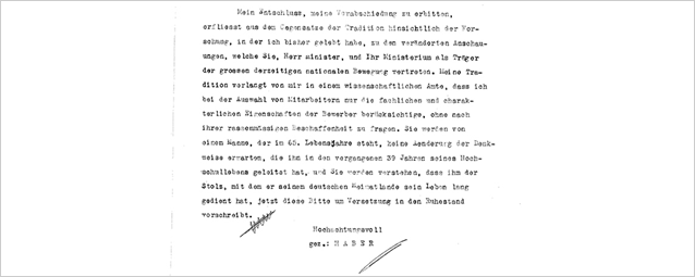 Fritz Haber's explanation of his resignation: the incompatibility of his work as a scientist with the conditions of National Socialism