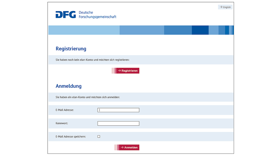 Login interface for the DFG's electronic proposal processing system (elan).