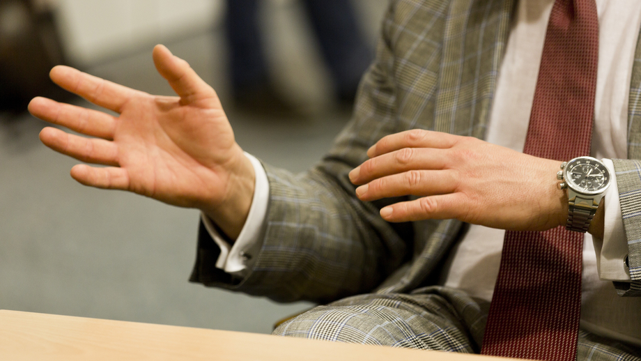 A picture of the hands during a discussion