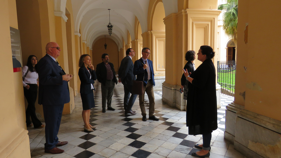 The delegation on a guided tour of the National University of Córdoba