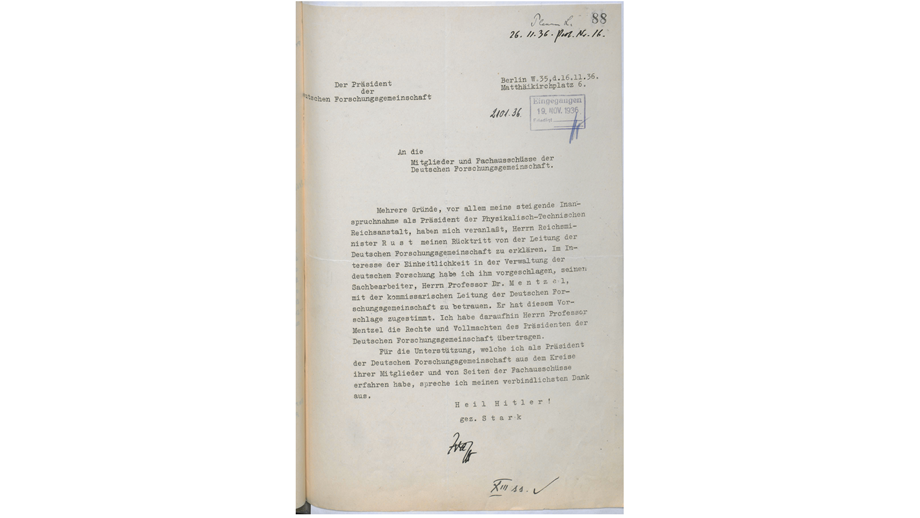 Stark's letter of resignation dated 26 November 1936
