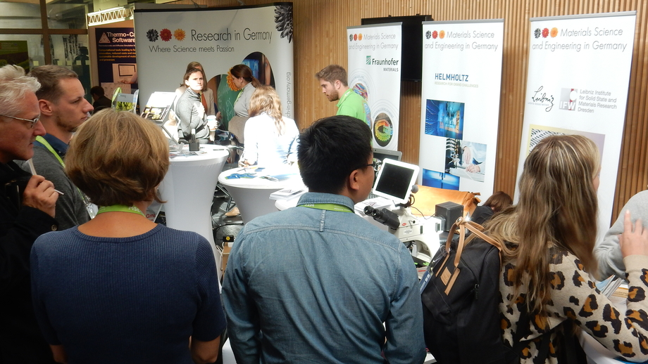 "Strong interest in the joint ""Research in Germany"" booth in the foyer of the Darmstadt Institute of Technology"